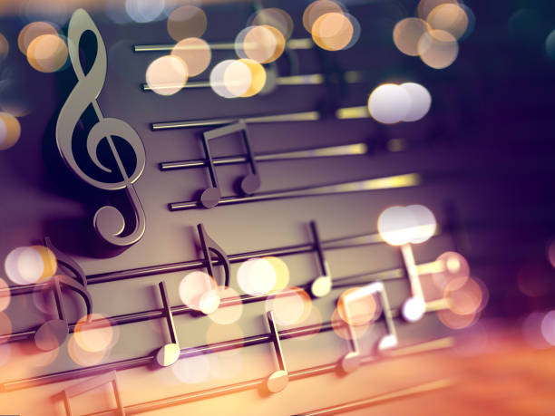 Music background design.Musical writing and Christmas carol 3d illustration of musical notes and musical signs of abstract music sheet.Songs and melody concept sheet music stock pictures, royalty-free photos & images