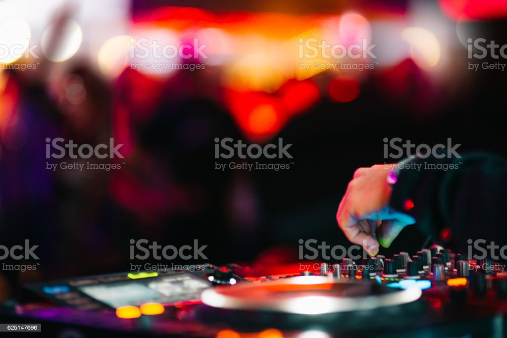Music Background DJ Night Club Deejay Record Player Retro stock photo
