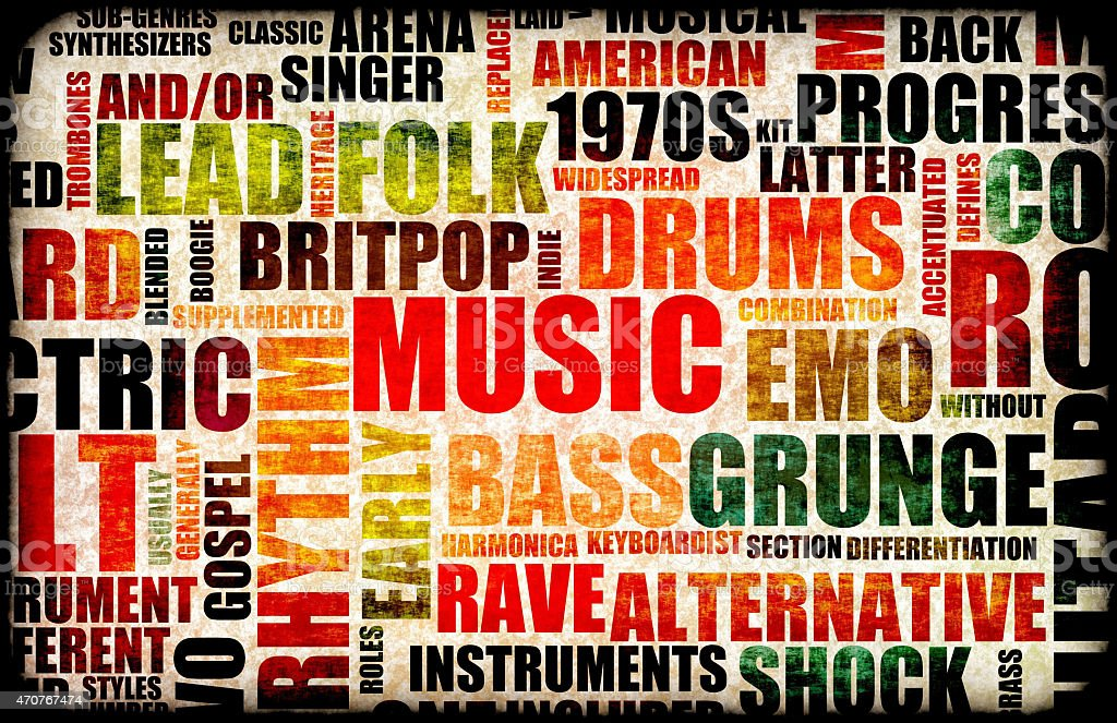 Music Background With Different Genres And Types Stock