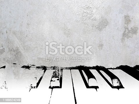istock Music background with piano keys in silver gray retro style 1169524249