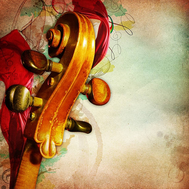 music background with yellowed paper and chello - renaissance style stock photos and pictures