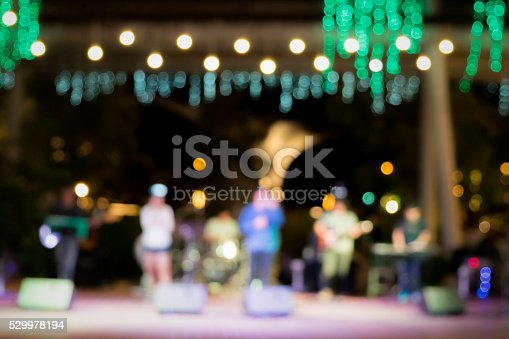 istock Music band  and bokeh nightlight in outdoor stage. 529978194