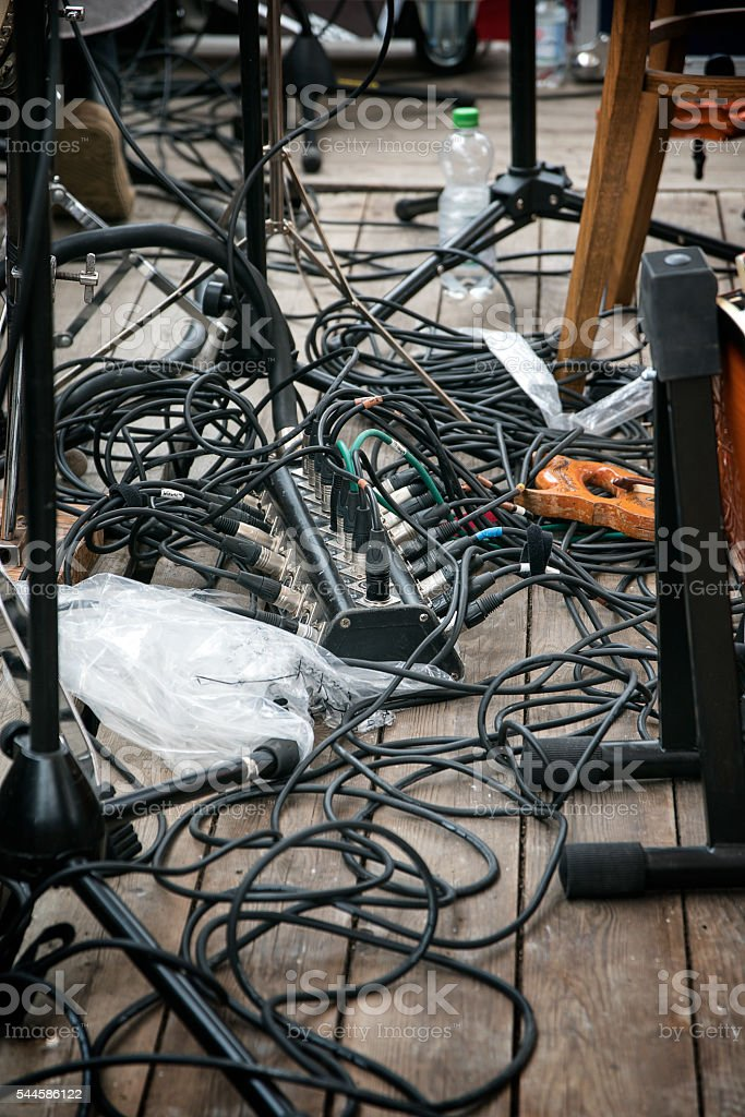 music band cabling on stage for the amplifier system stock photo