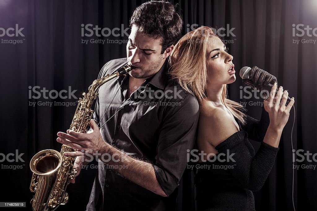 Music band performing live royalty-free stock photo