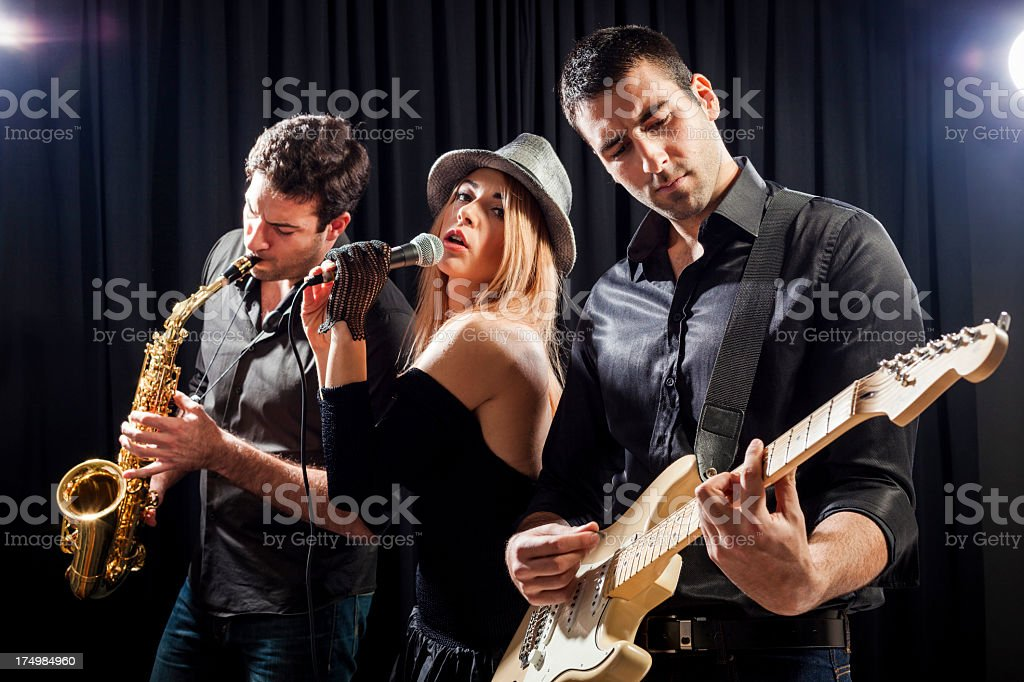 Music band performing live stock photo