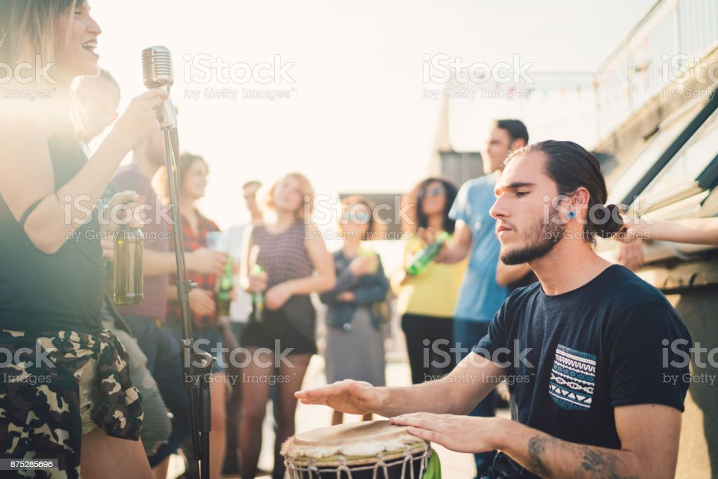 Music band performing on party stock photo