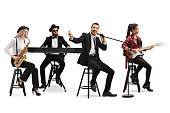 Music band with a guitarist, sax and keyboard and a singer isolated on white background
