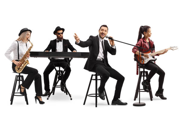 Music band with a guitarist, sax and keyboard and a singer Music band with a guitarist, sax and keyboard and a singer isolated on white background keyboard player stock pictures, royalty-free photos & images
