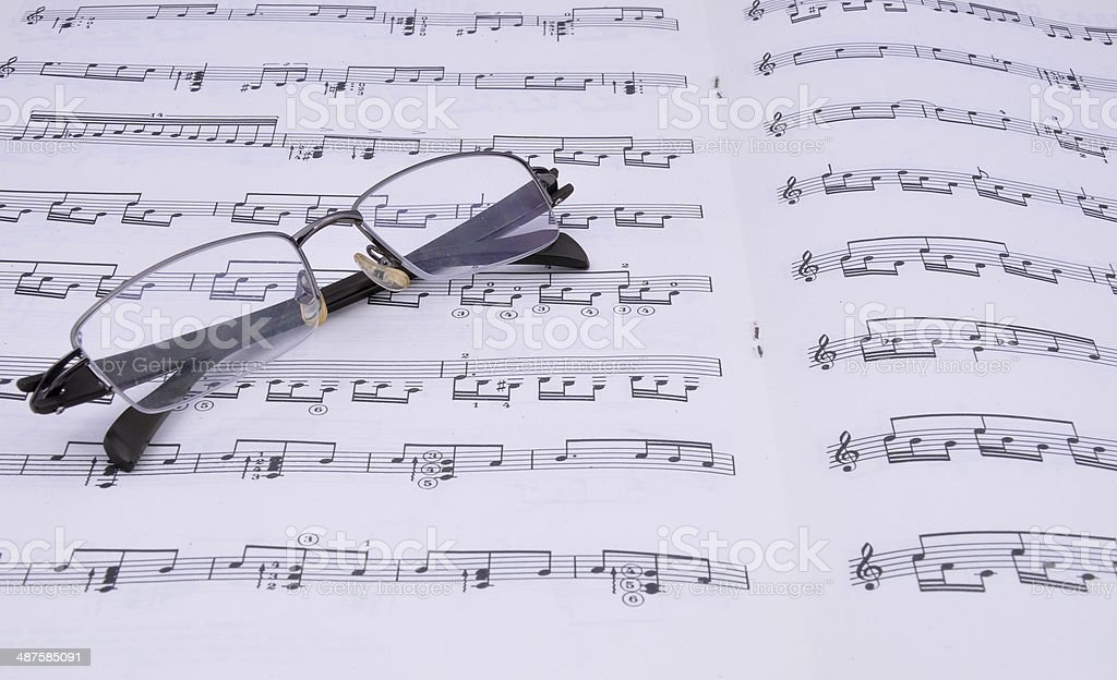 Music book and glasses royalty-free stock photo