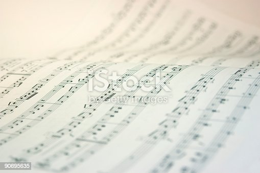 Very high key image of a music score.
