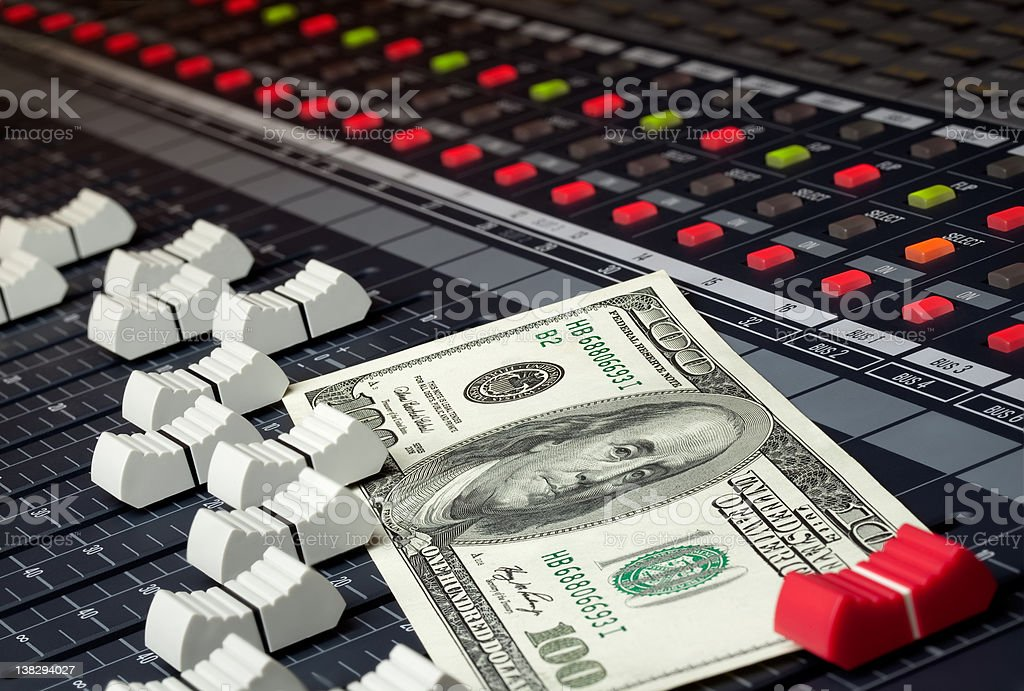 Music Business Money Mixer stock photo