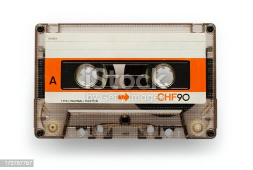 Old good audio casette isolated on white with soft shadow + clipping path