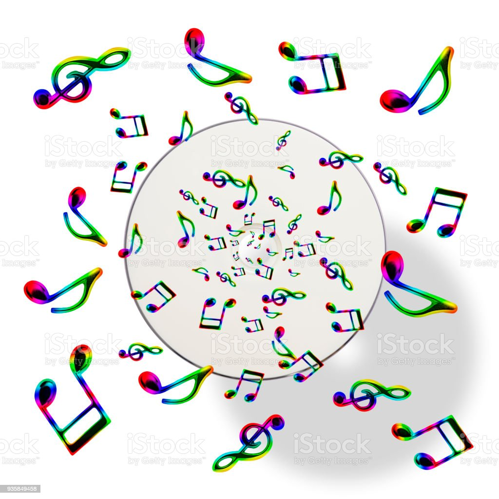 Overhead shot of Music CD and flying musical notes, isolated on white...