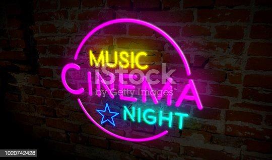 991292404 istock photo Music cinema night neon 1020742428