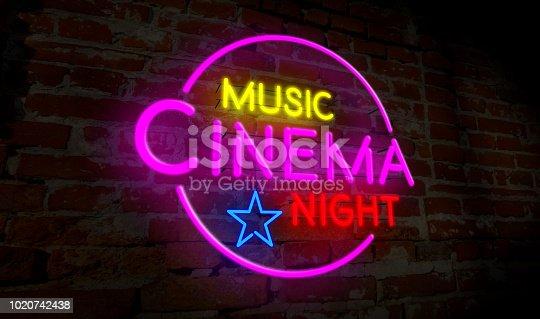 991292404 istock photo Music cinema night neon 1020742438
