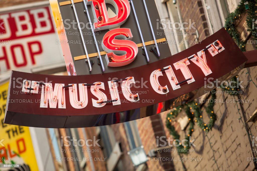 Music city neon lights Nashville, Tennessee USA stock photo