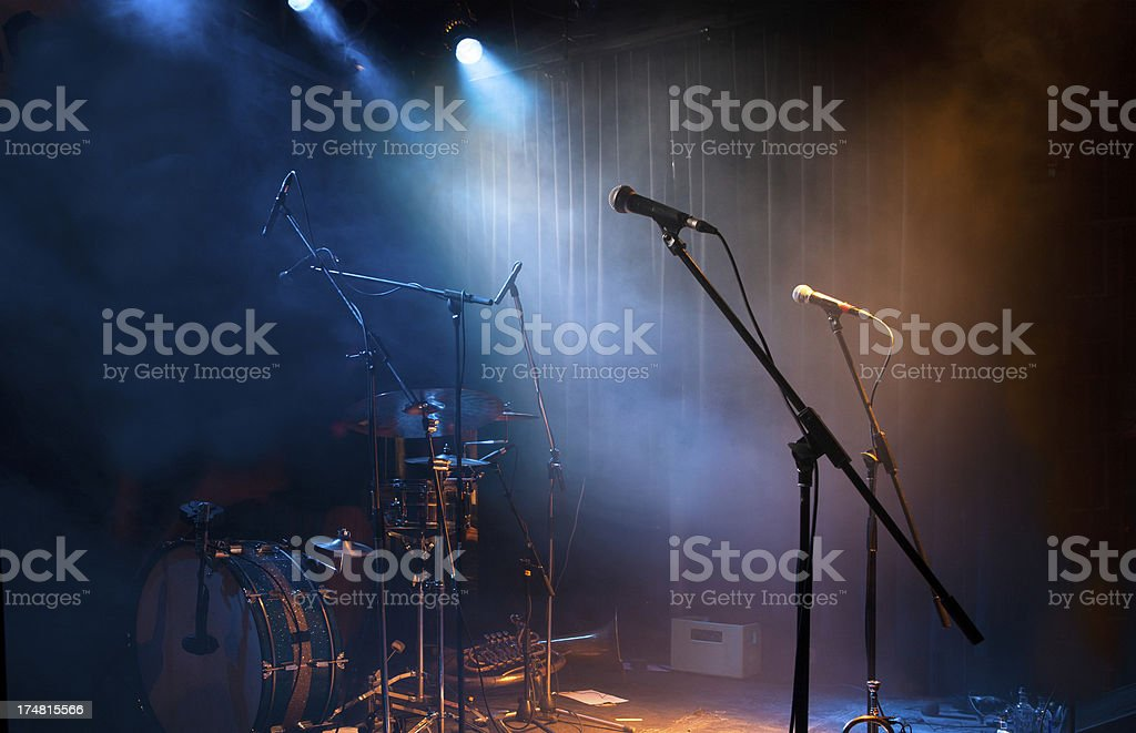 \'Music club stage in a nightclub, with sound equipment and...