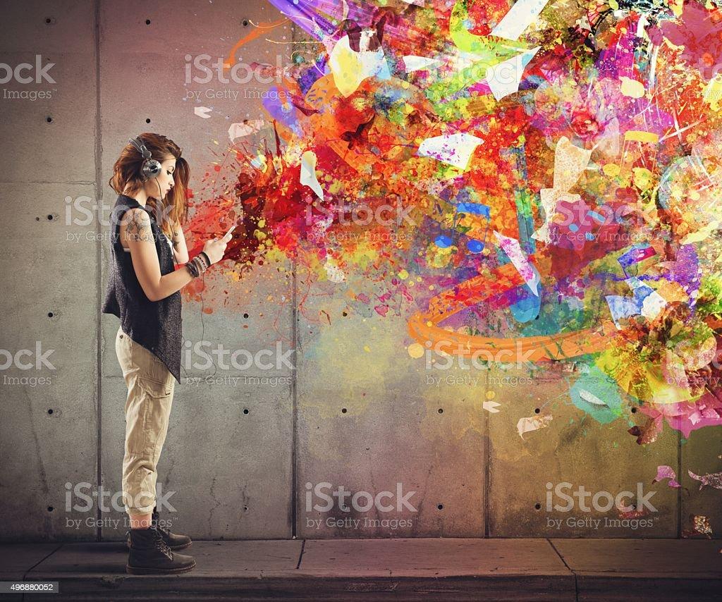 Music colour style stock photo