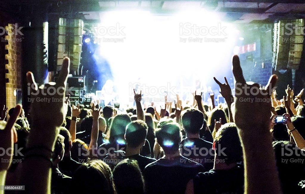 music concert people and hands up heavy metal rock dancing stock photo