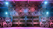 istock Music concert stage with large sound system 1223434926