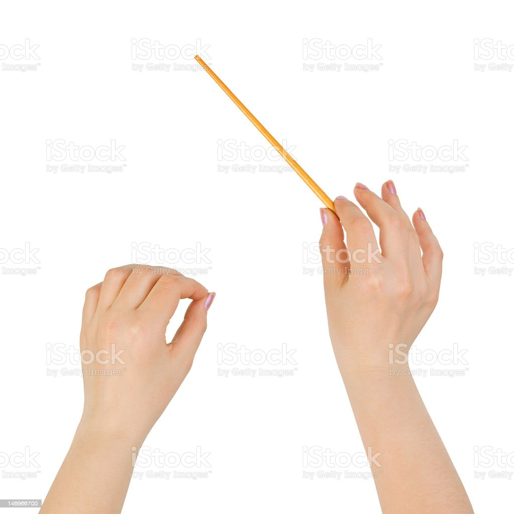 Music conductor hands with baton stock photo