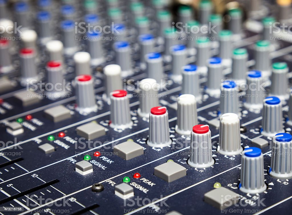 Music control buttons close up , Studio music mixer equipment