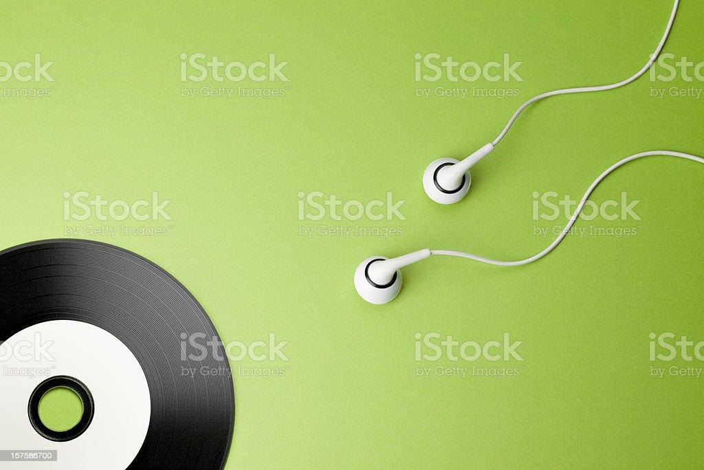 Music. Creativity Concepts Ideas Sex Headphones CD Sperm Record stock photo