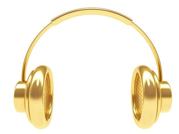 3D Music Dj Headphone in Gold stock photo