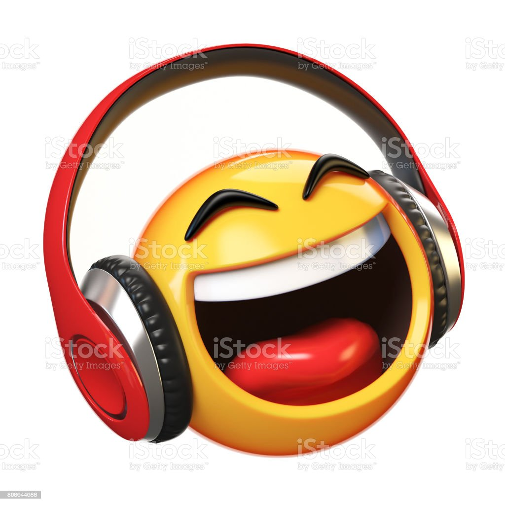Music emoji with headphones isolated on white background, emoticon with earphones 3d rendering stock photo
