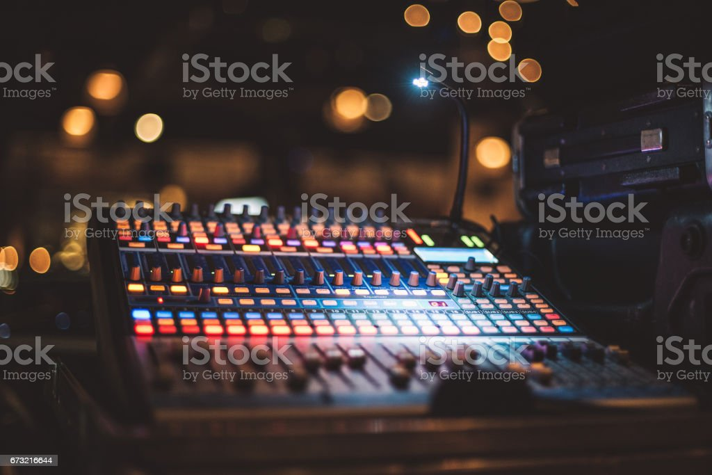 Music equipment for sound mixer control on party stage stock photo