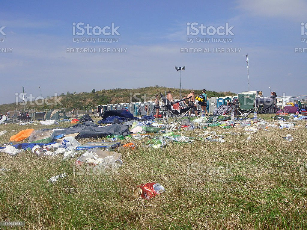 Music Festival Aftermath - Litter stock photo