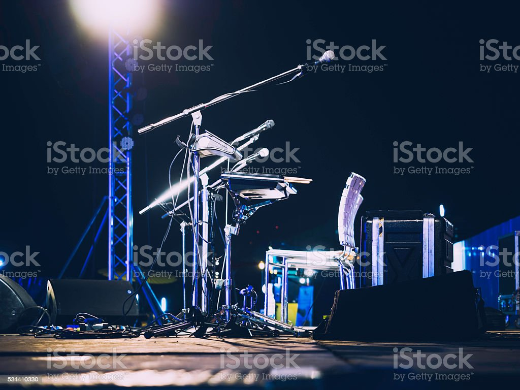 Music Festival Event Microphone on Concert Stage Live music stock photo