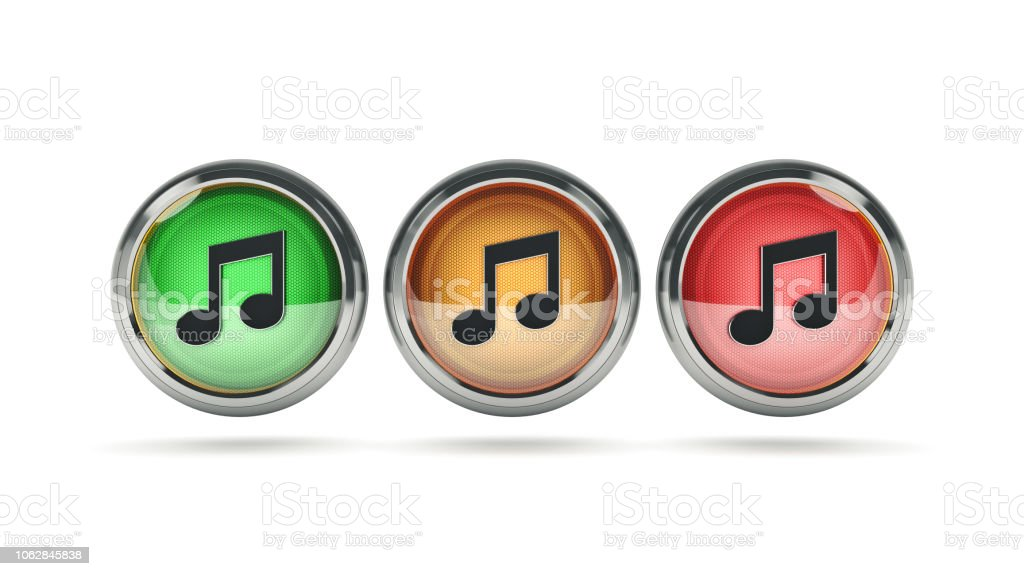 Music glossy icon. 3d rendering stock photo