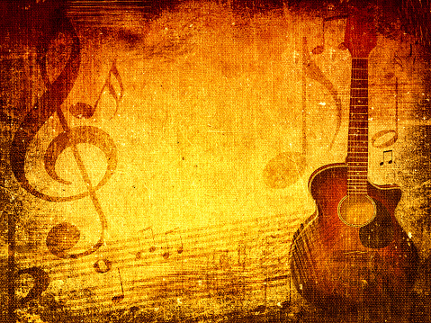 Music grunge background with music notes and guitar