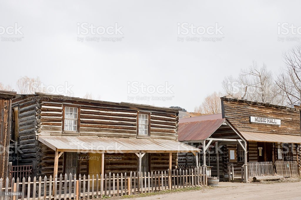 Music Hall and other Building in a Ghost Town stock photo