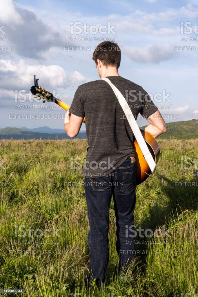 Music in the mountains stock photo