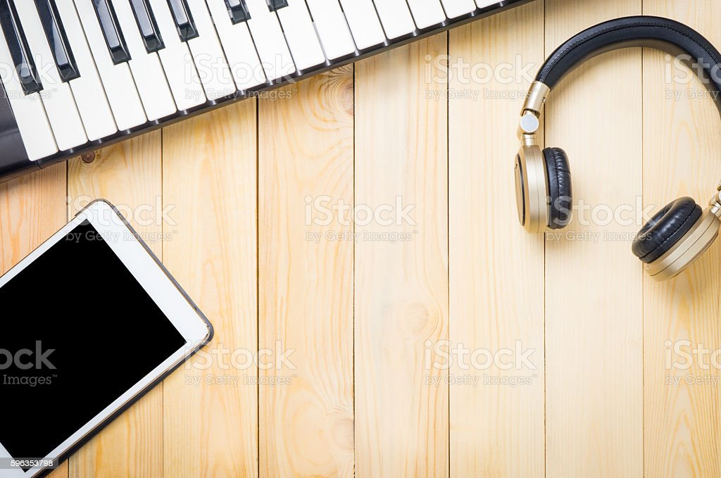 Music instrumental Technology device on wood royalty-free stock photo
