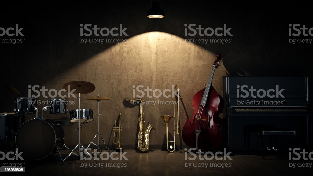 music instruments. 3D Rendering stock photo