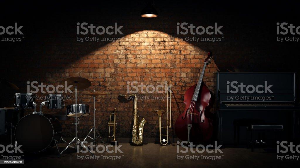 Musikinstrumente. 3D Rendering – Foto