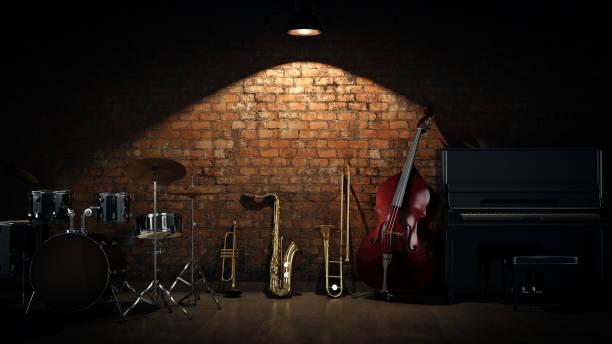 musikinstrumente. 3d rendering - blues stock-fotos und bilder