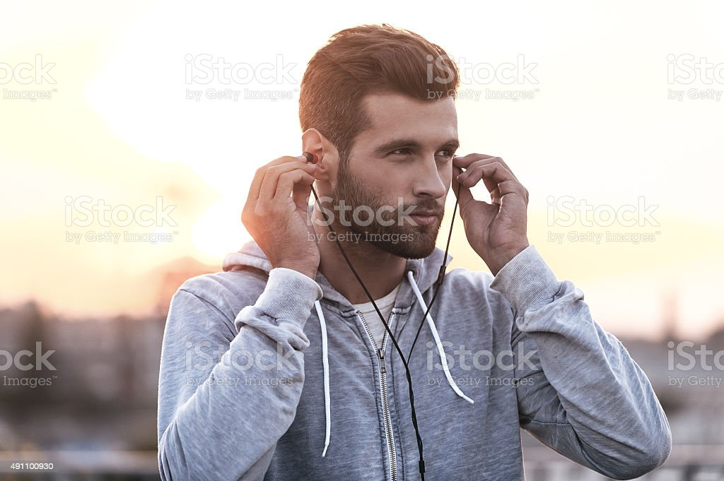 Music is always with me. stock photo