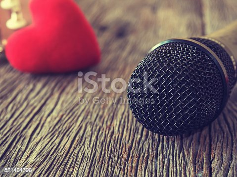 istock Music lover concept. A Black microphone on wooden plate. 521464796