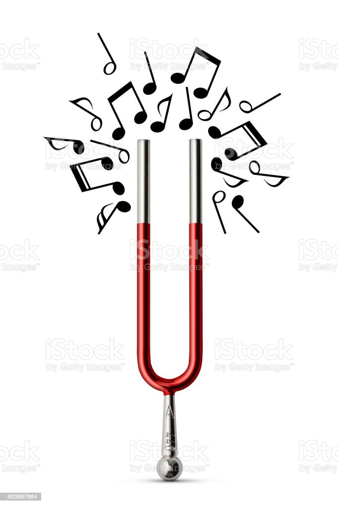 Music. Magnetic tuning fork attracting musical notes. Concept photography on white background. stock photo