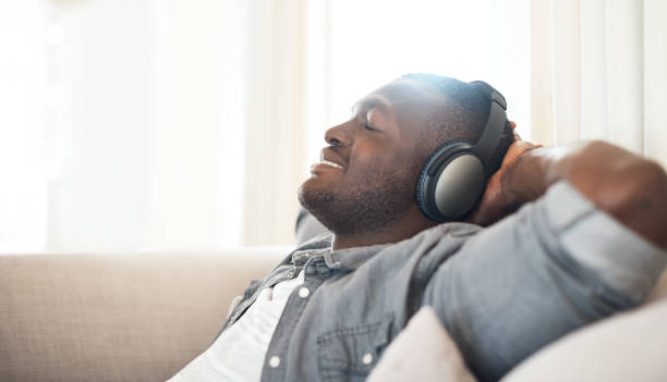 Music makes all seem good in the world stock photo
