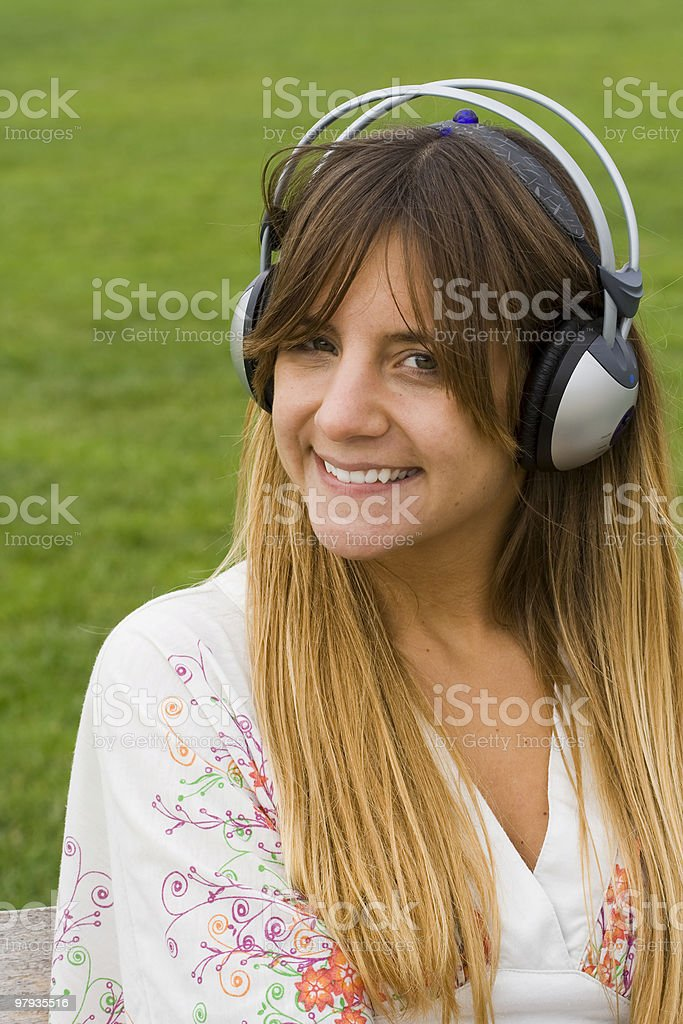 music makes bigger smiles royalty-free stock photo