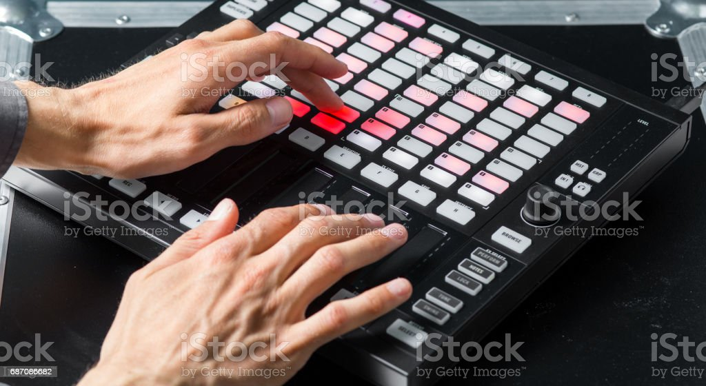Music Making Concept, Hands on Music Controller stock photo