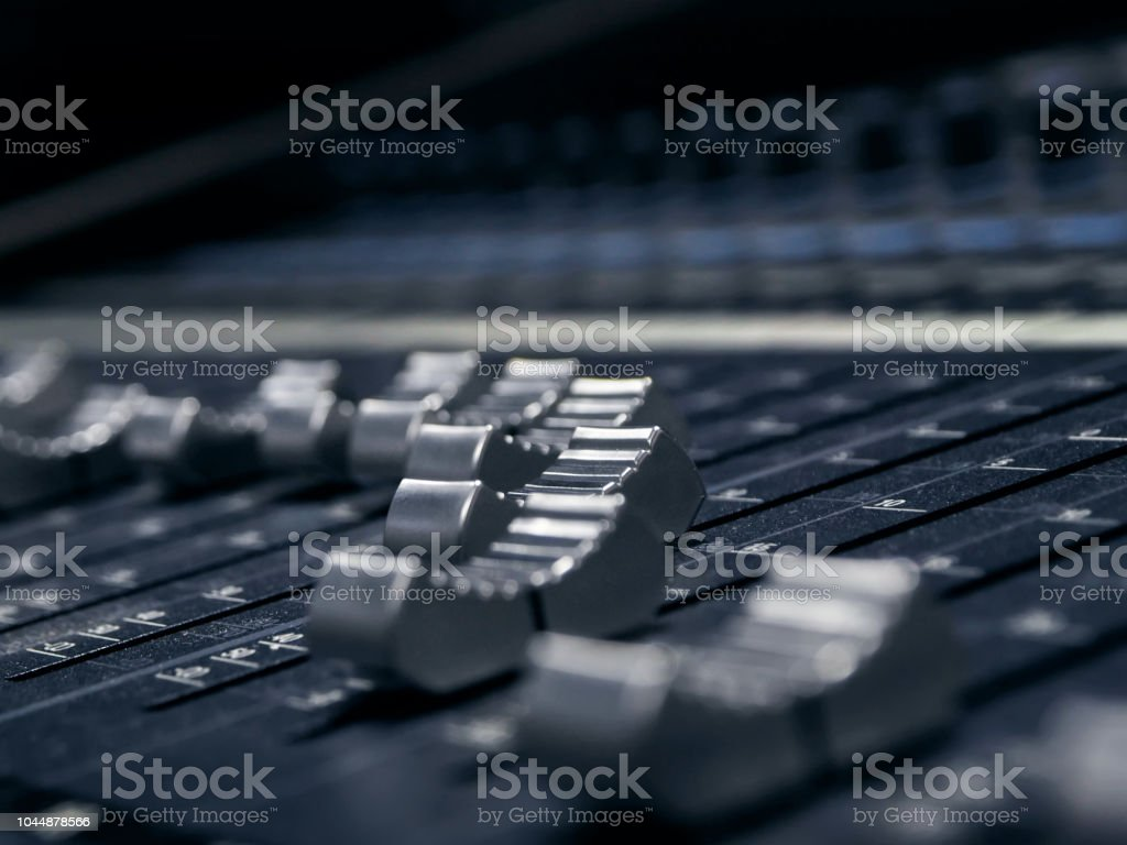 Music Mixer Control Panel In Recording Studio Closeup Stock