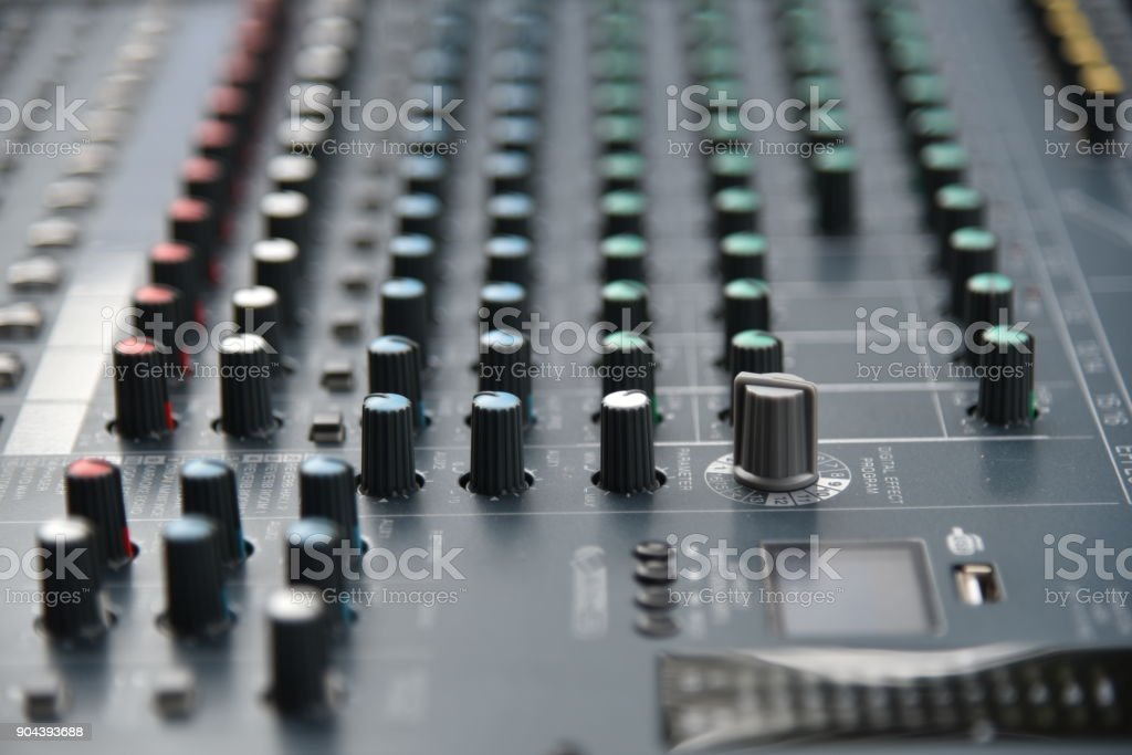 Music mixer equalizer console for mixer control sound device stock photo