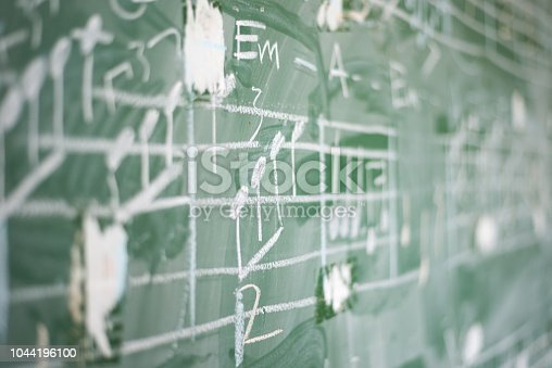 Music notation on green chalkboard