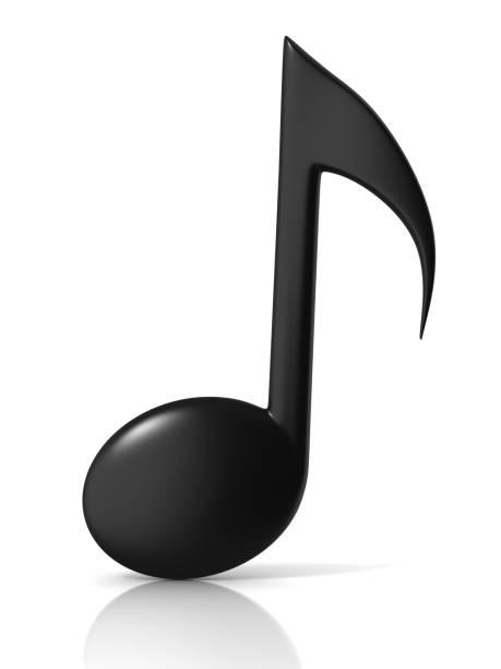 ícone de notas musicais 3d sobre fundo branco - desenhos de notas musicais - fotografias e filmes do acervo